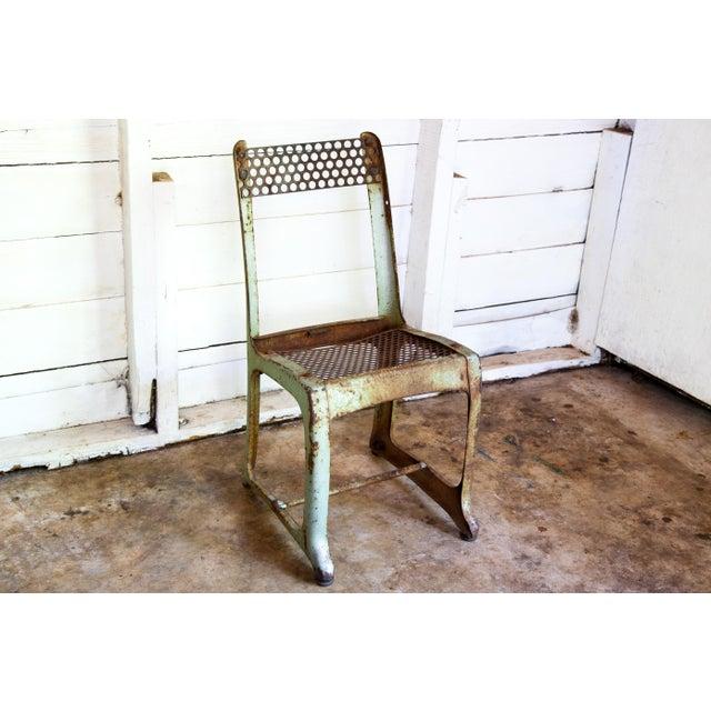 Green 1950s Vintage Metal Envoy #13 Vintage Americana School Chair For Sale - Image 8 of 9