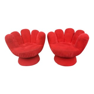 Vintage Contemporary Red Hand Chair- a Pair For Sale