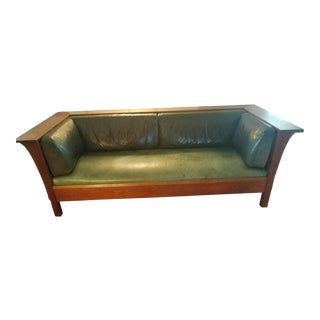 Vintage Stickley Mission Cherry Prairie Settle Sofa For Sale