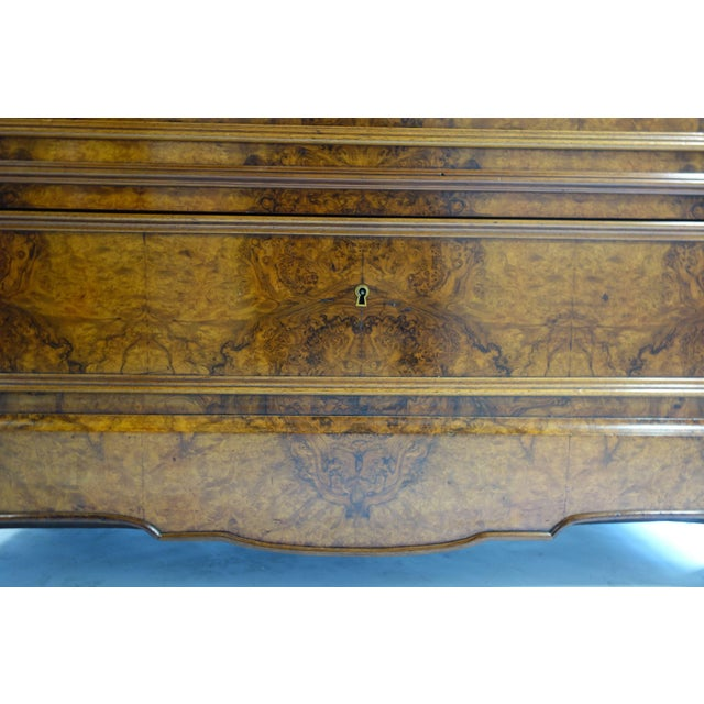 Traditional Glass Front Cabinet with Burl Veneers - Image 4 of 7