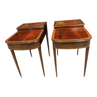 Vintage Crotch Mahogany Step Down End Tables - a Pair For Sale
