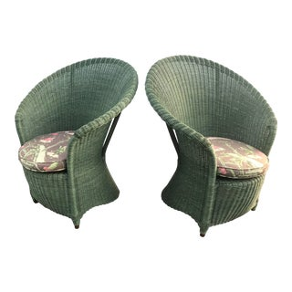 Vintage Green Wicker Fan Chairs - a Pair For Sale