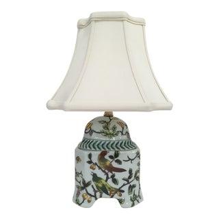 Porcelain Chinoiserie Bird Jar Lamp With Shade