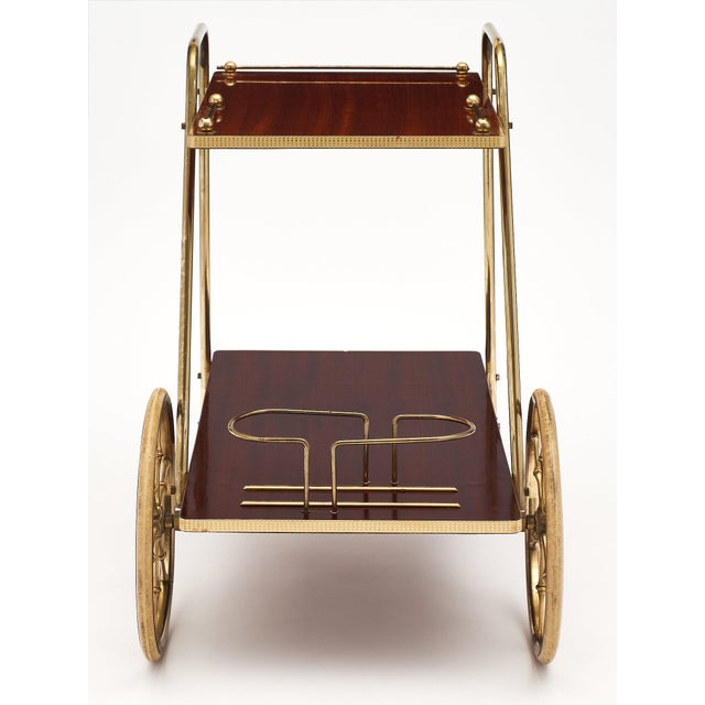 French Art Deco Period Rosewood and Brass Bar Cart For Sale In Austin - Image 6 of 10