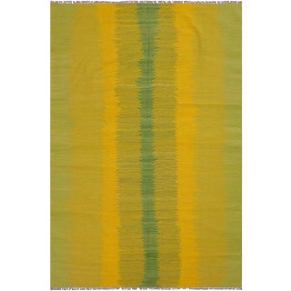 Boho Chic Kilim Bernadet Yellow Hand-Woven Wool Rug - 5′9″ × 7′9″ For Sale