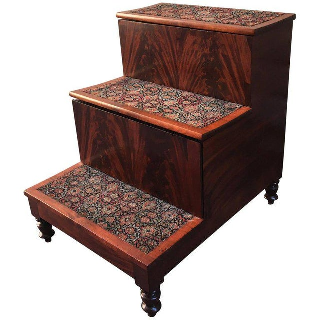 Mahogany 19th Century American Southern Flame Mahogany Bed Steps For Sale - Image 7 of 7