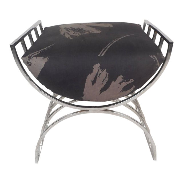 Unique Mid-Century Modern Chrome Stool or Ottoman - Image 1 of 8