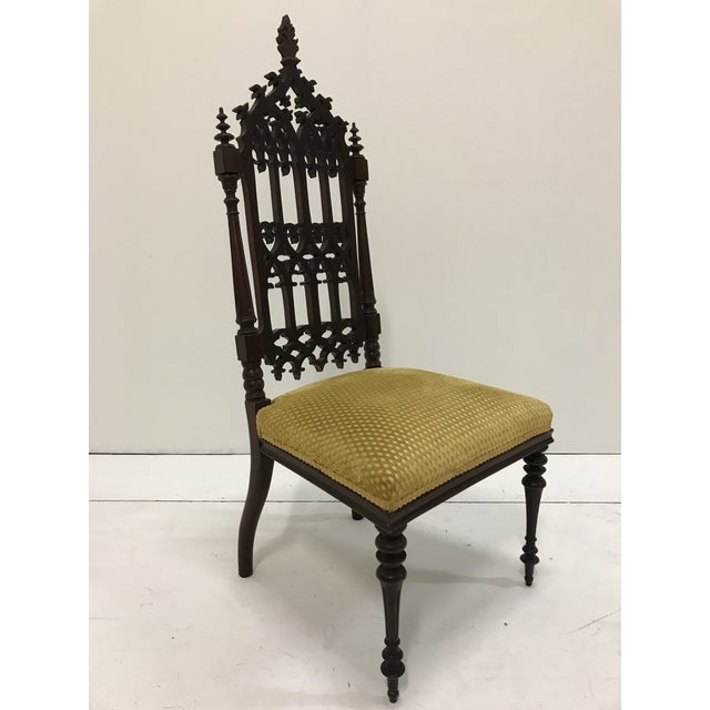 19th Century Victorian Gothic Period Petite Side Chair For Sale - Image 4 of 11