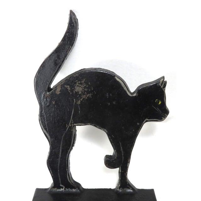 1920s Black Halloween Cat Cast Iron Doorstop For Sale In Boston - Image 6 of 13