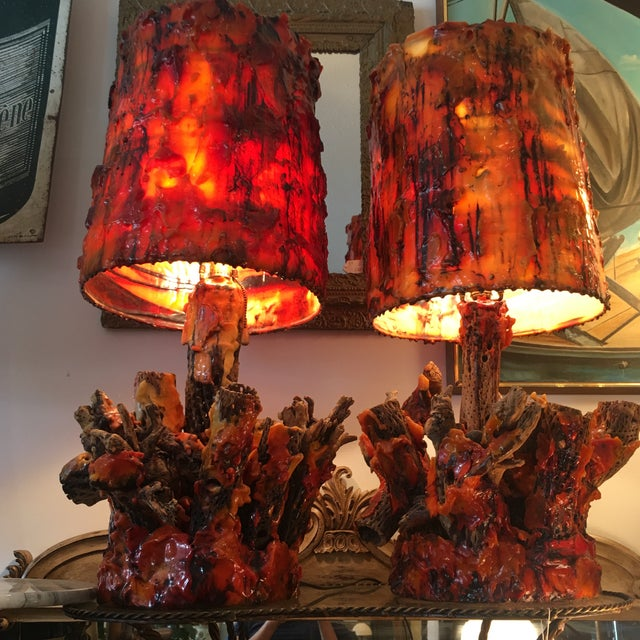 Vintage Waxed Cholla Wood Lamps - A Pair - Image 5 of 11