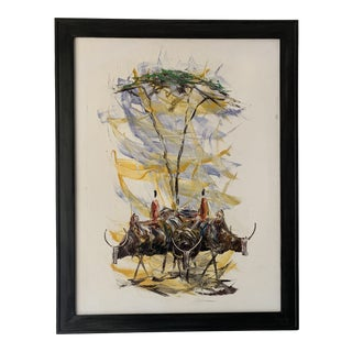 "Mid-Century Style ""Steer"" Painting, Framed For Sale"
