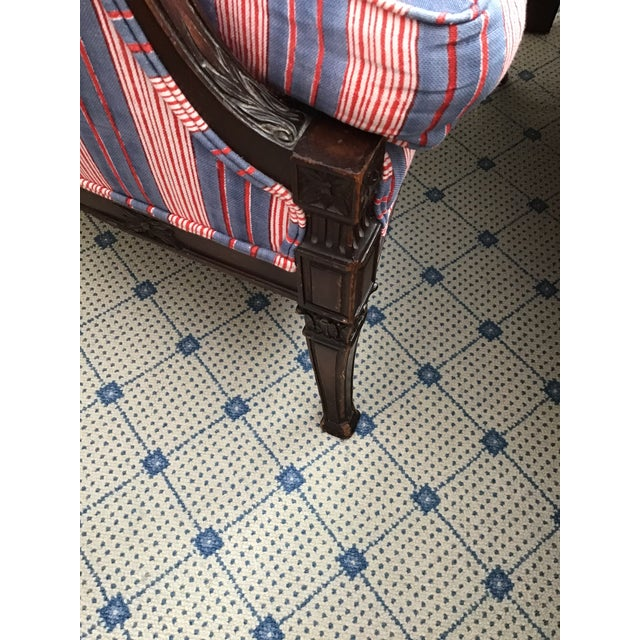 Americana Antique Chairs With John Robshaw Vintage Stripe Cora Fabric - a Pair For Sale - Image 3 of 13