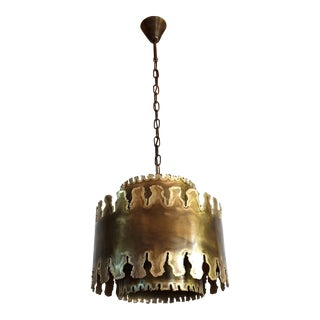 Mid Century Modern Oxidized Brass Brutalist Chandelier by Sorensen Denmark 1960s For Sale