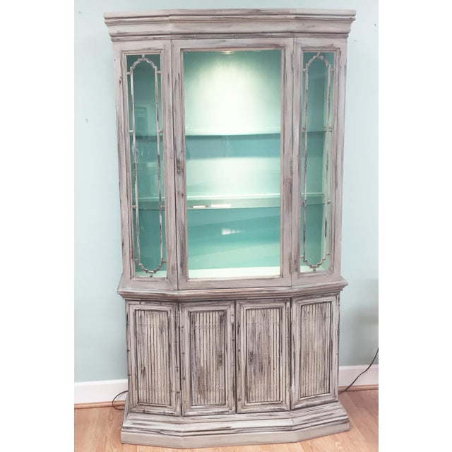 Gray Mid-Century China Cabinet Hutch - Image 2 of 11