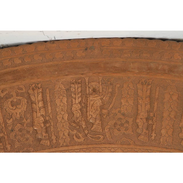 Early 20th Century Large Persian Oval Decorative Copper Tray For Sale - Image 5 of 8