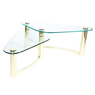Mid-Century Modern Brass and Glass Cocktail Table For Sale