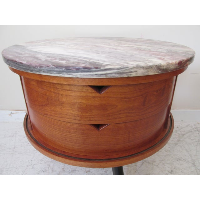 Round Side Tables with Marble Tops - A Pair - Image 7 of 8
