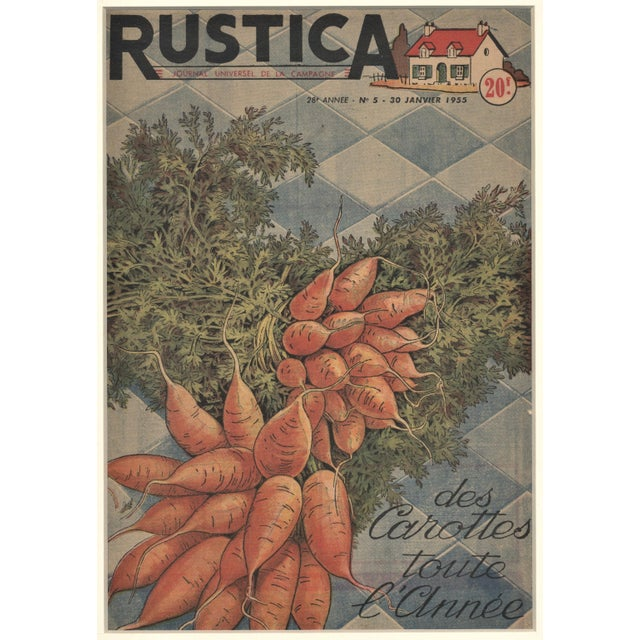 1950s Matted French Mid-Century Country Kitchen Art-Vegetables-Carrots For Sale - Image 5 of 5