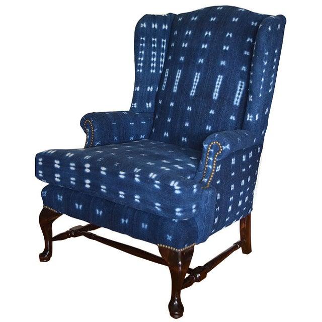 Indigo Mali Mudcloth Wingback Chair - Image 1 of 9