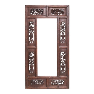 Grand Chinese Floral Carved Mirror For Sale