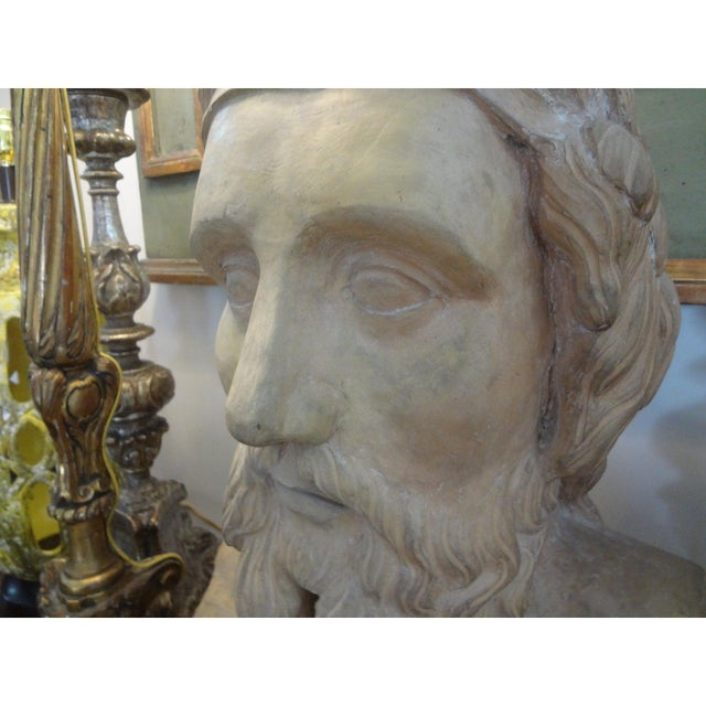 Ceramic 19th Century Monumental French Terra Cotta Bust of a Classical Greek For Sale - Image 7 of 11