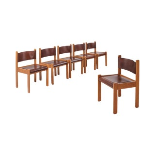 Oak & Leather Dining Chairs For Sale