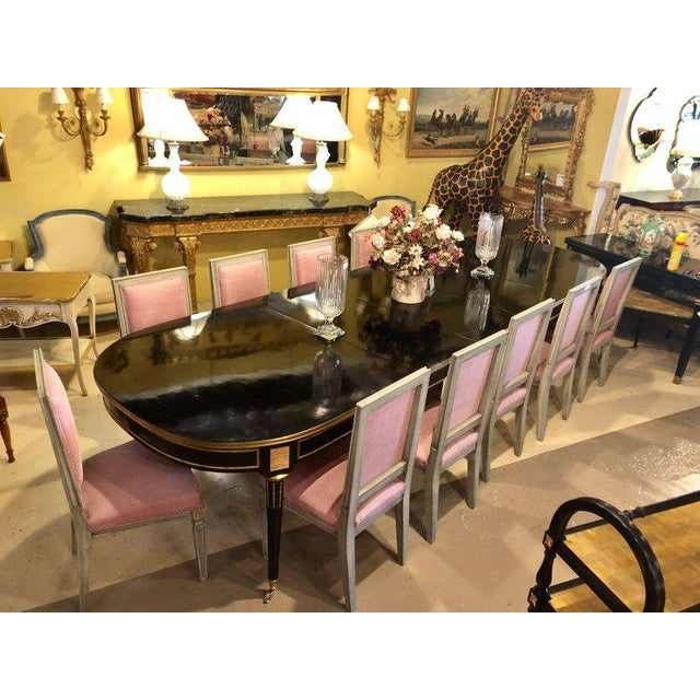 Ebonized Maison Jansen Style Twelve Foot Dining Table in Louis XVI Fashion For Sale - Image 9 of 11