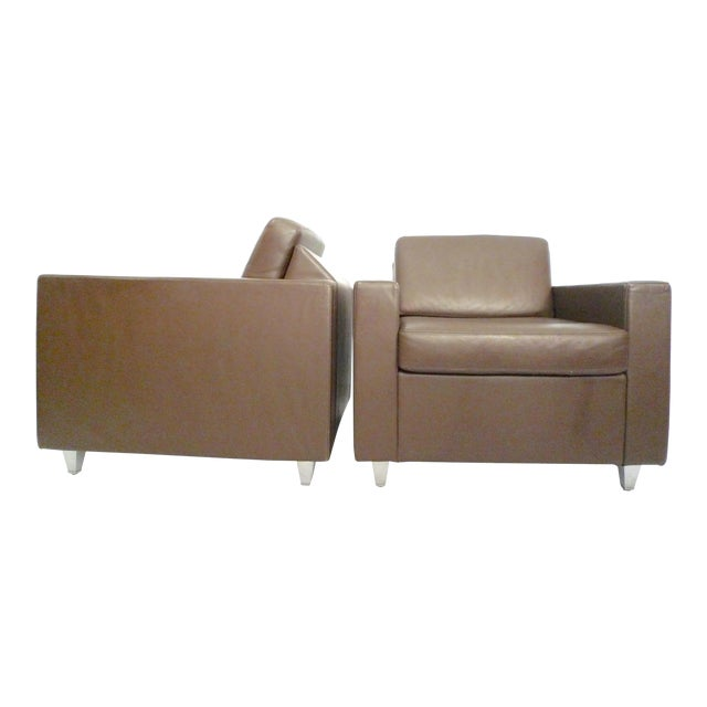 Jhane Barnes for Bernhardt Design Chocolate Brown Leather Contract Lounge Armchairs- a Pair For Sale