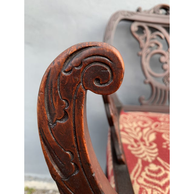 Wood Antique Jacobean Accent Chair For Sale - Image 7 of 13