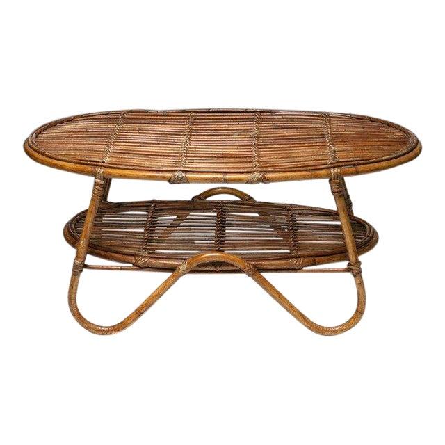 Italian 60s Wicker Side Table For Sale