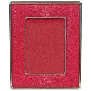 Italian Fabio Ltd Red Shagreen Nickel-Plated Photo Frame For Sale