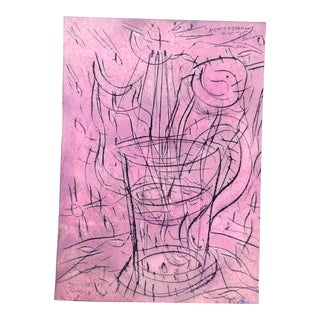 """Original Outsider Artist Peter Duncan Abstract """"Cup"""" Painting Signed For Sale"""
