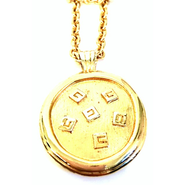 """20th Century Gold & Enamel """"G"""" Logo Reversible Givenchy Pendant Necklace For Sale In West Palm - Image 6 of 9"""