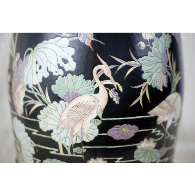 Asian Vintage Black Garden Stool With Cranes and Lotuses For Sale - Image 3 of 12