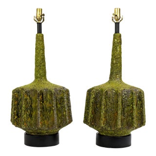 Monumental Pair of Green Lava Glaze Lamps by Volcano Fantoni For Sale