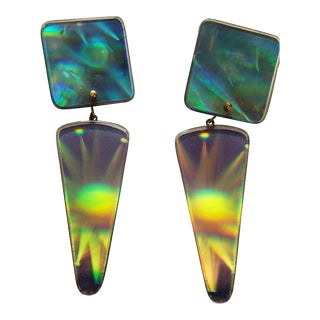 Mid-Century 1960s Artisinal Geometric Pop Art Hologram Earrings For Sale