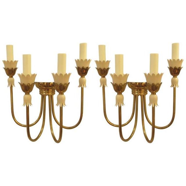 Pair of Mid-Century Italian Brass Sconces with Four Arms For Sale In New York - Image 6 of 6