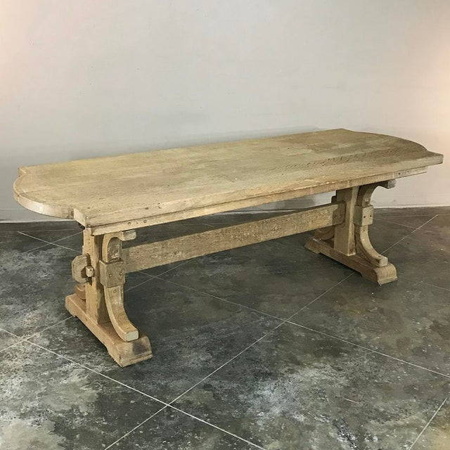 Antique Country French Provincial Stripped Oak Trestle Table For Sale - Image 11 of 11