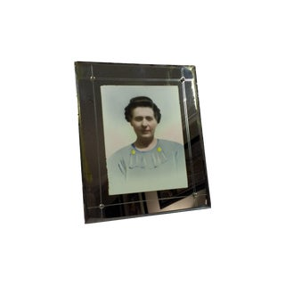 Antique Beveled Glass Mirrored Picture Frame