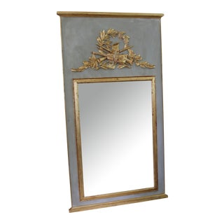 Vintage Musical Instrument Motif Gray and Gold French Trumeau Mirror For Sale