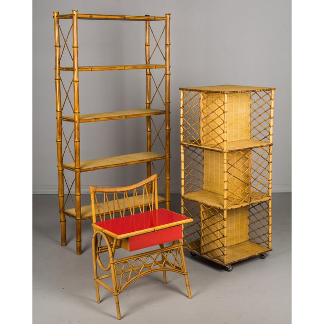 Mid-Century French Bamboo & Rattan Etagere For Sale - Image 10 of 11