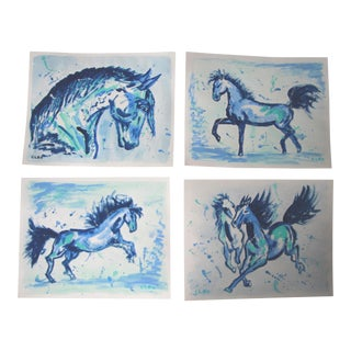 Chinese Horses in Blue Paintings by Cleo - Set of 4 For Sale
