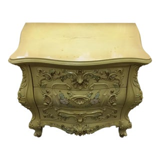 French Provincial Carved Wood Nightstand With Pastel Colors