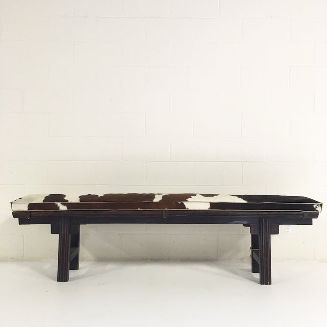 Vintage Chinese Bench with Cowhide Cushion - Image 4 of 8