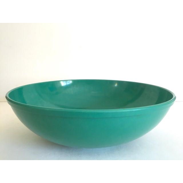 Vintage Mid Century Modern Melmac Melamine Extra Large Teal Green Round Serving Bowl For Sale - Image 13 of 13
