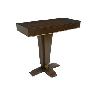 French Art Deco Rosewood Console Table on Pedestal Base, Circa 1940 For Sale