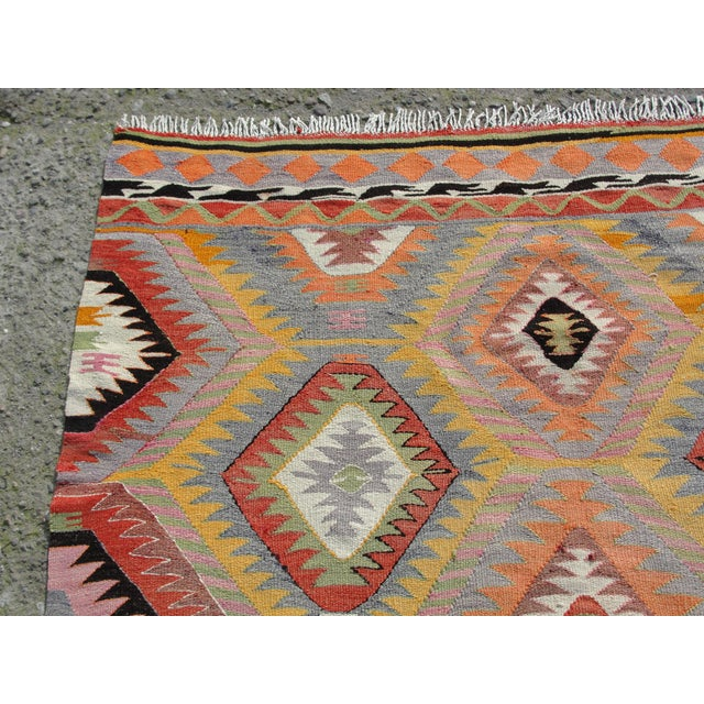 Islamic Vintage Turkish Kilim Rug - 5′5″ × 7′10 For Sale - Image 3 of 11