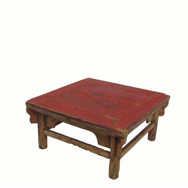 1910s 1916 Antique Chinese Low Red Accent Table For Sale - Image 5 of 5
