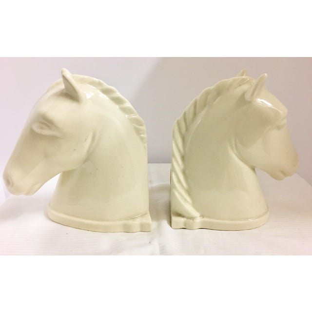 Ivory 1940s Mid-Century Modern Abington Pottery Ivory Horse Bookends - a Pair For Sale - Image 8 of 8