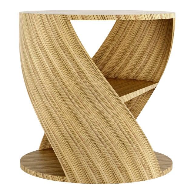 Mydna Zebrano Decorative Side Table by Joel Escalona For Sale